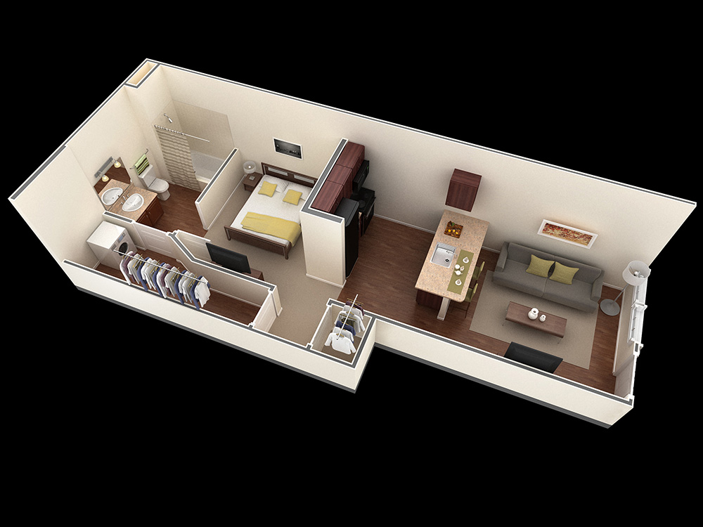 25 one bedroom house apartment plans for Small one bedroom apartment floor plans