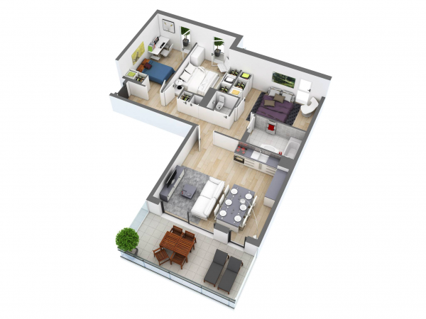 The shared areas are kept on the opposite side from the bedrooms in this small but organized option.