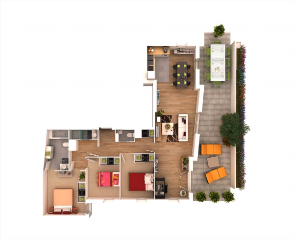 An overhead view lets us see how each bedroom is tucked cozily in one corner of the building while a wide open floorplan takes up the rest of the house.