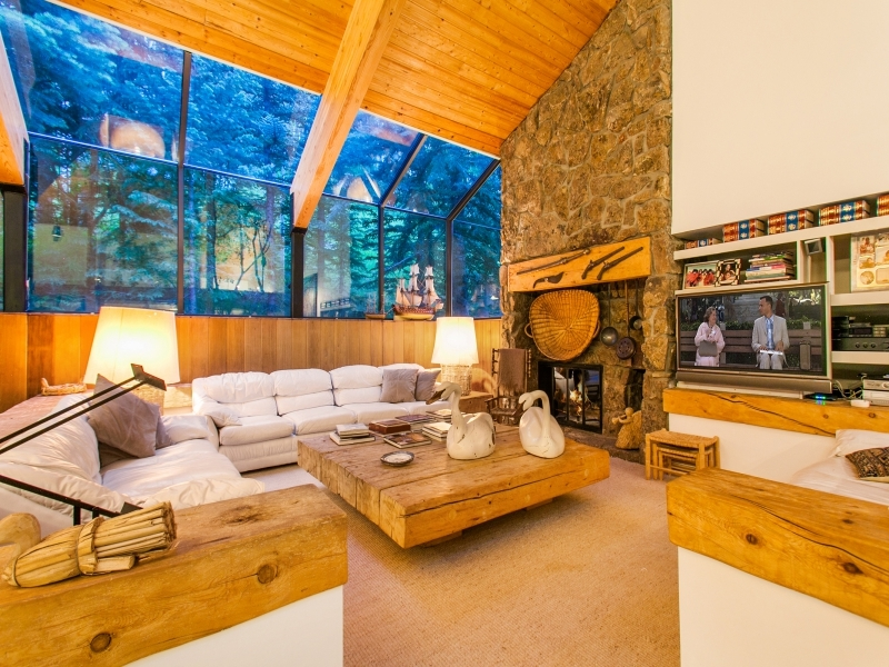 Stone Fireplace Design - Gorgeous colorado cabin secluded among the trees