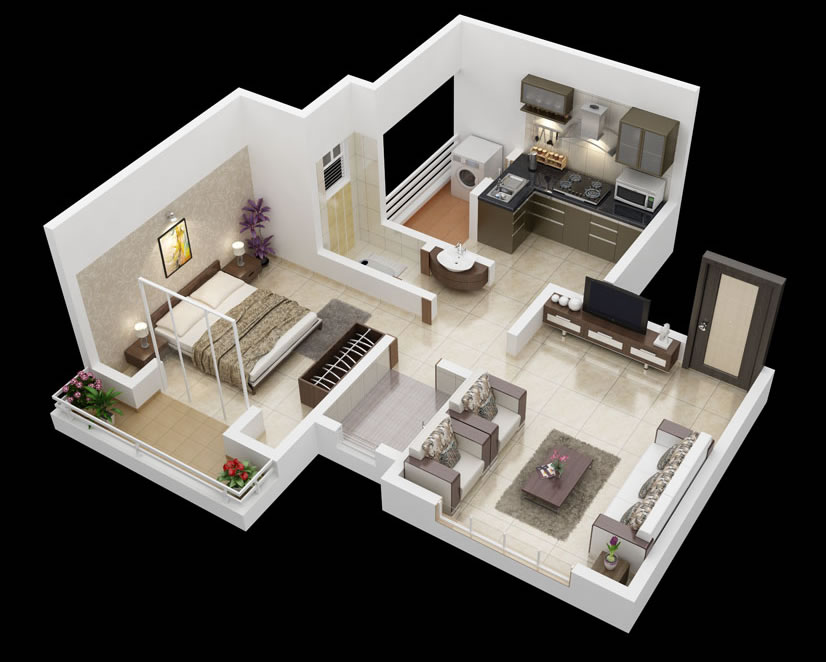 25 one bedroom house apartment plans for House design ideas 2016
