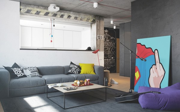The first creative apartment for a creative person comes from the design and architecture team at NORDES Design Group. At first glance, the cheeky superhero painting in the living room draws the eye entirely. This boldly colored piece is allowed to stand out because so much of the color scheme is neutral gray and white.
