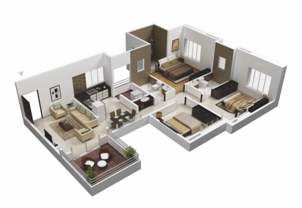 The common areas in this layout give some space up to the big bedrooms.