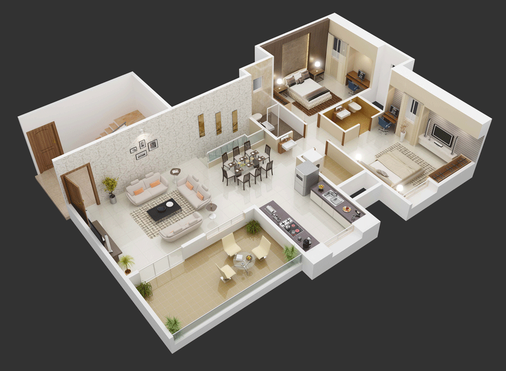 25 more 3 bedroom 3d floor plans for Planos de cocinas modernas