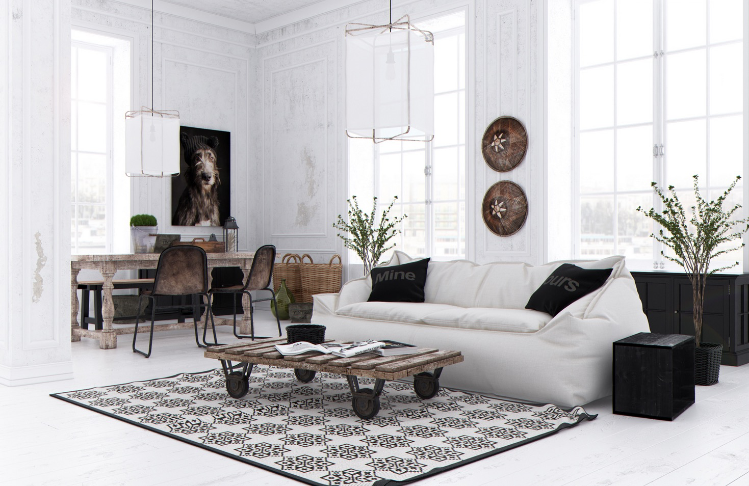 20 creative living rooms for style inspiration for Dark walls white furniture