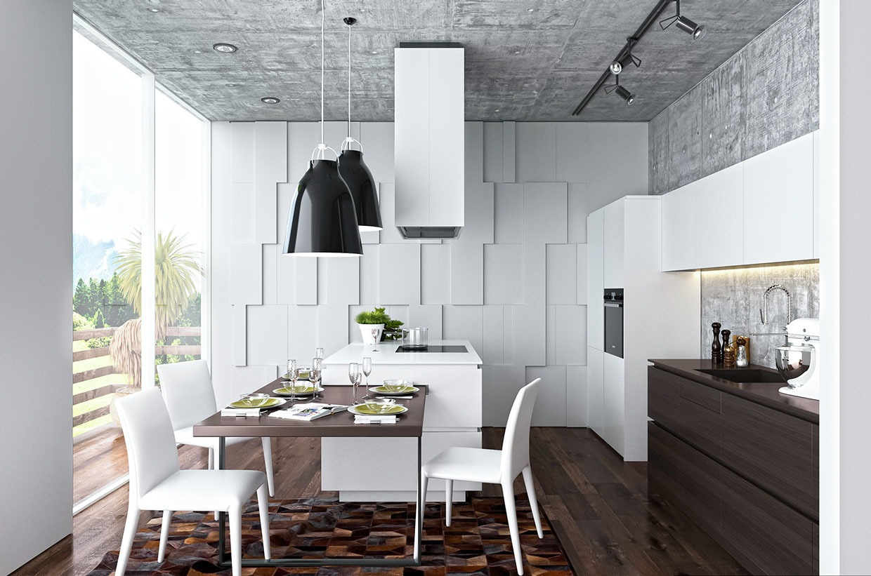 White And Wood Design - Homes that use a concrete finish to achieve beautiful results