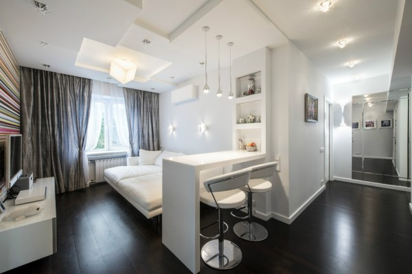 The second apartment is a small two bedroom space in Moscow, designed by Andrew Rudoi with an interior of 56 square meters (about 600 square feet).
