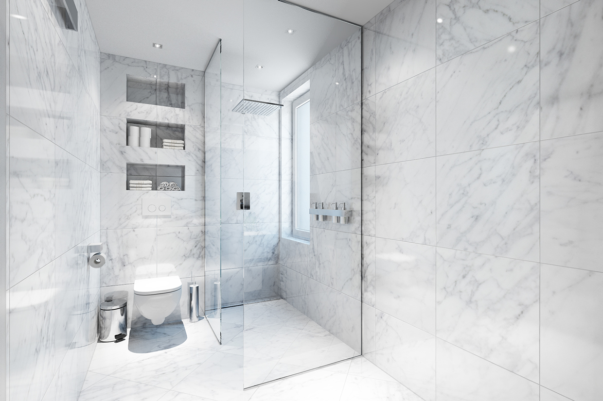 White marble bathroom interior design ideas for Small marble bathroom ideas