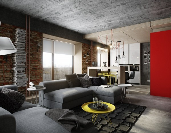 For a bit more vibrancy, we can turn to this fourth dwelling from designer and architect Vladimir Bolotkin. The red accents really bring the warm industrial vibe in this apartment to life. The same can be said for the creatively textured area rug and pops of yellow in the furniture.