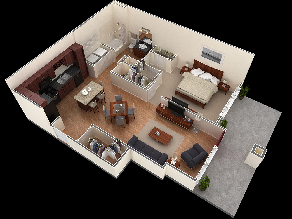 25 one bedroom house apartment plans for Hardwood floor plans