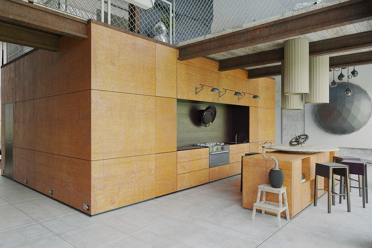 Wood Paneled Kitchen - Homes that use a concrete finish to achieve beautiful results