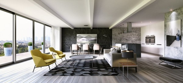 The second apartment was visualized by ArchID and has an extremely open feeling, which is a commonality with many contemporary apartment designs. Rather than white and wood, this space uses gray and cream with accents of trendy banana yellow to give the main room a 60's mod-inspired feeling.