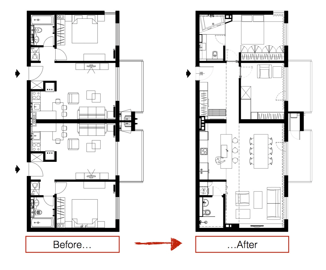 Three sleek apartments under 1500 square feet from all in for Apartment renovation plans