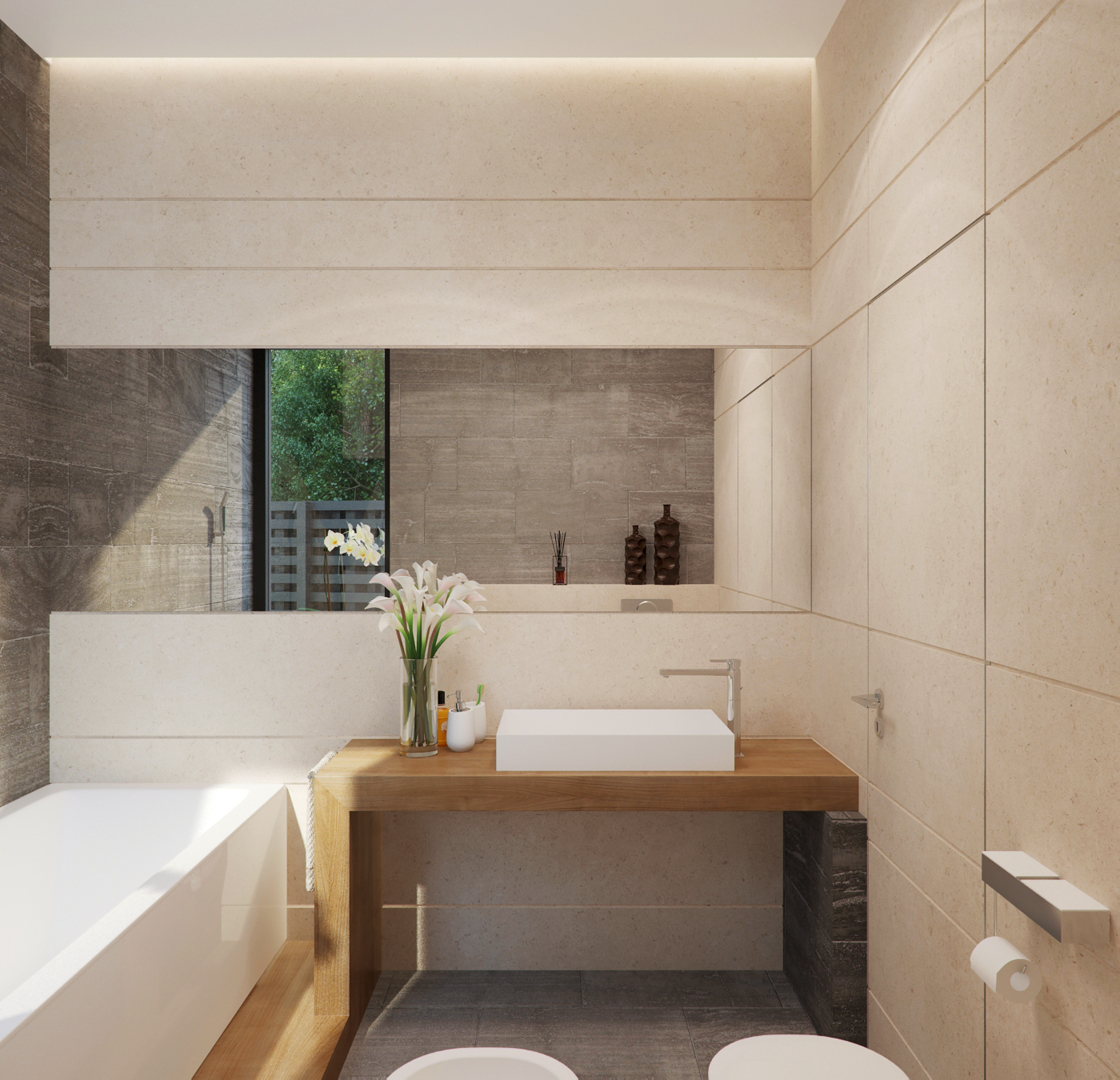 Birch Wood Bathroom - Stone and wood home with creative fixtures