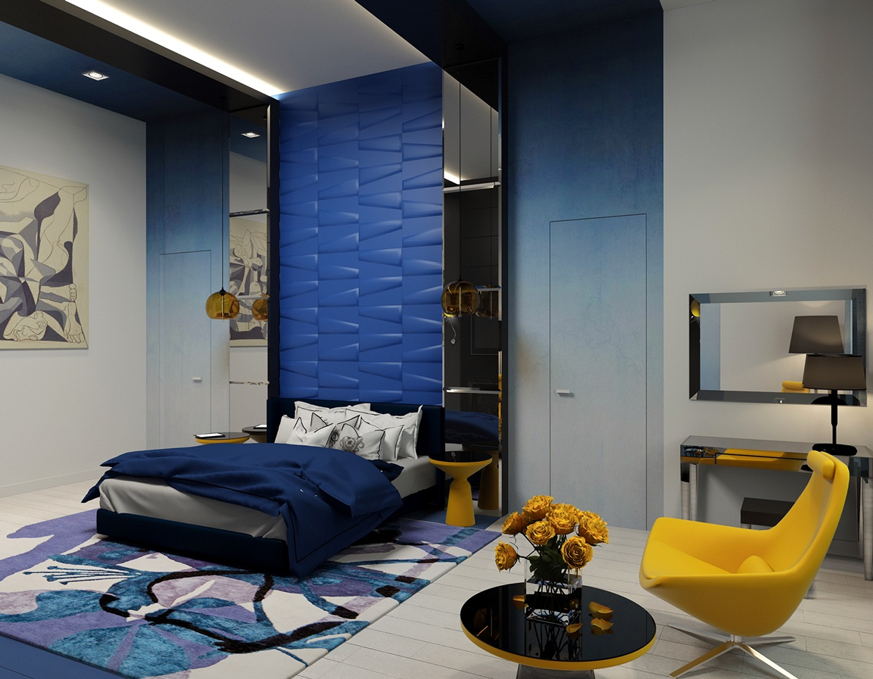 Blue and yellow bedroom interior design ideas - Blue white yellow bedroom ...