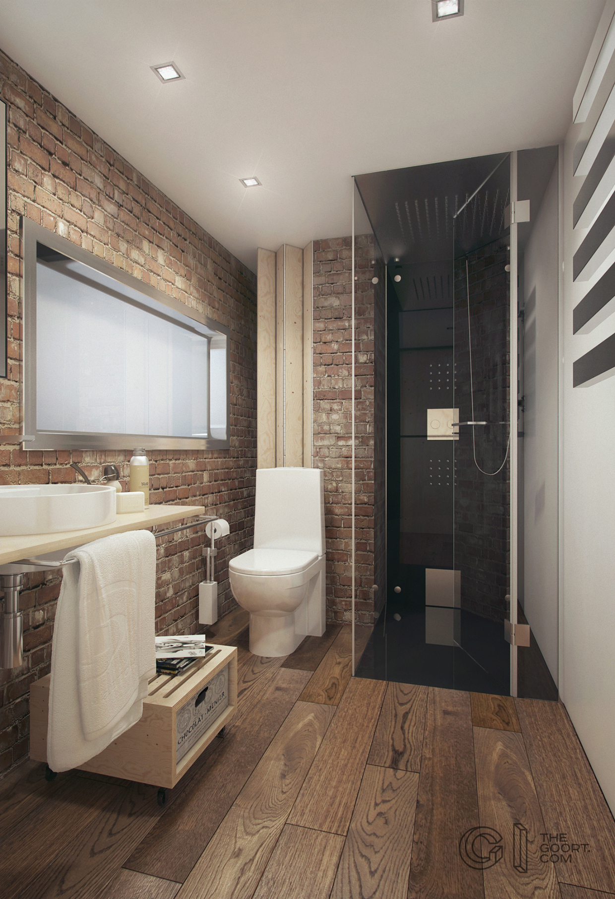 brick-and-wood-bathroom | interior design ideas.