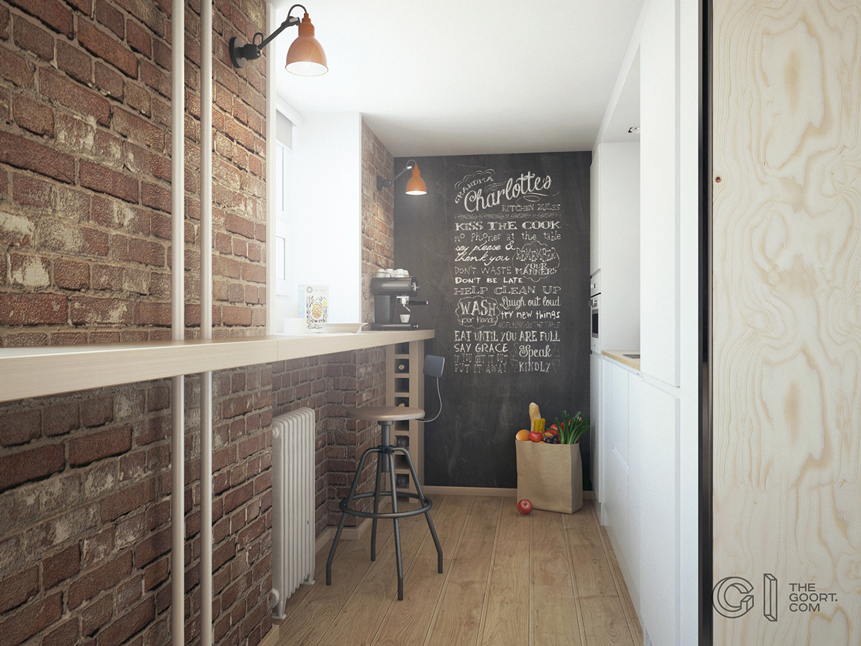 Chalkboard Wall - A super small apartment that adapts to its owner s needs