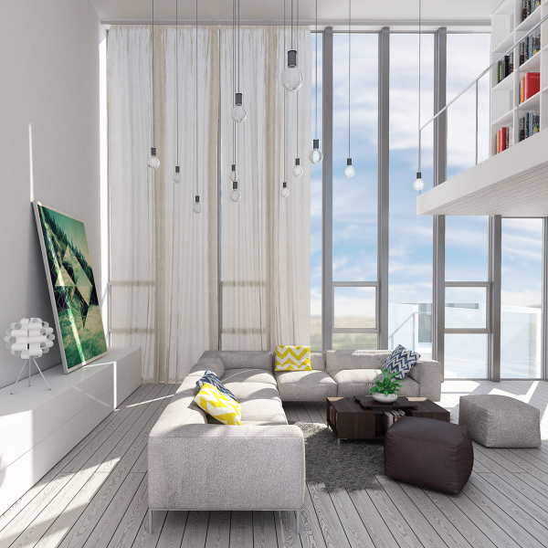 The second loft from visualizer denis khramov is more horizontal than the first option the long space is reminiscent of an airplane hanger and feels even