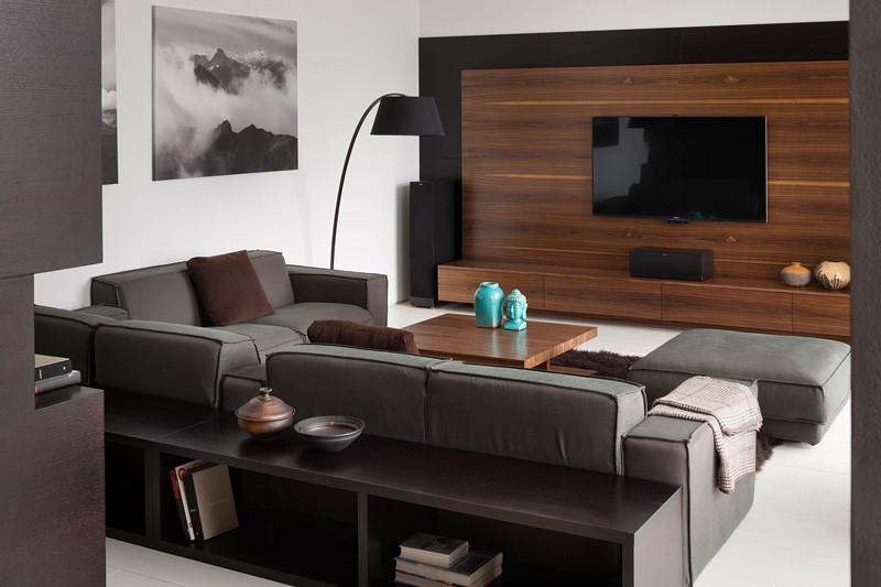 a modern summer cottage utilizes tons of gorgeous walnut. Black Bedroom Furniture Sets. Home Design Ideas