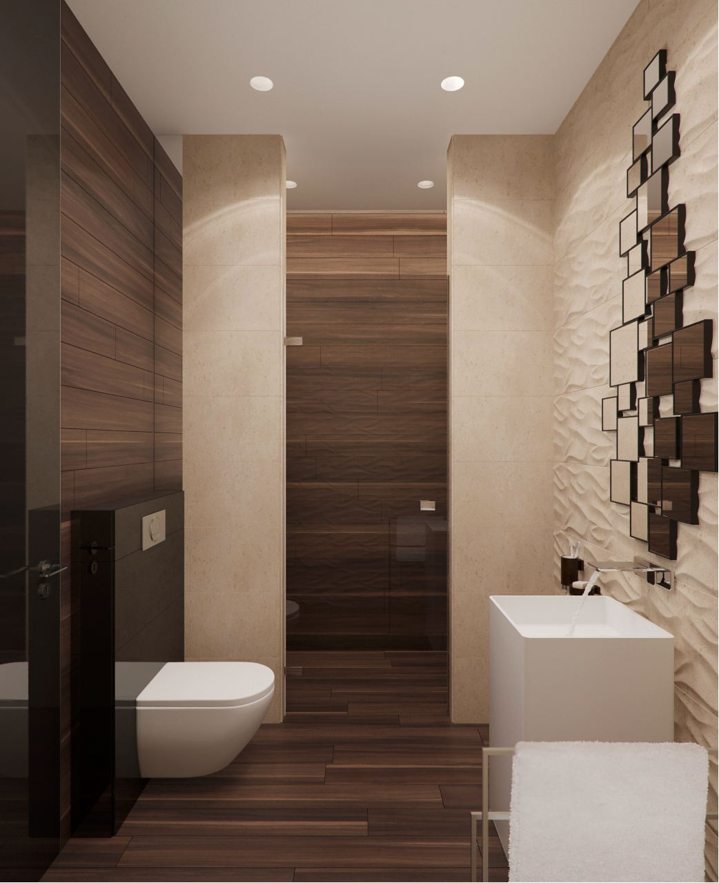 Stone and wood home with creative fixtures for Dark bathrooms design