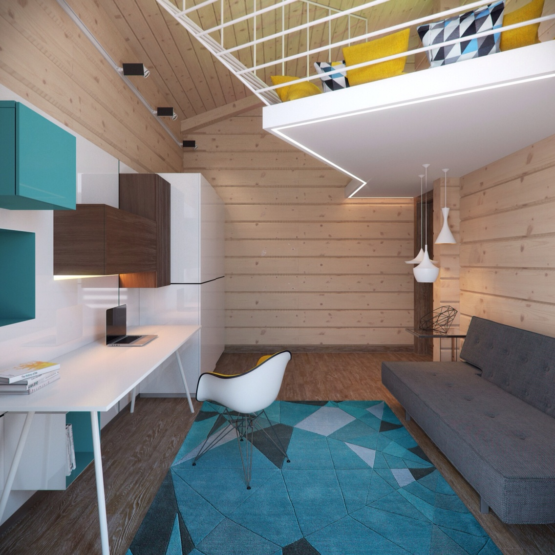 Eames Chair - 3 creative top floor rooms with wood accents