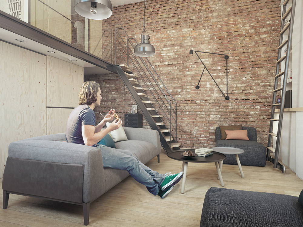 Exposed Brick Design - A super small apartment that adapts to its owner s needs