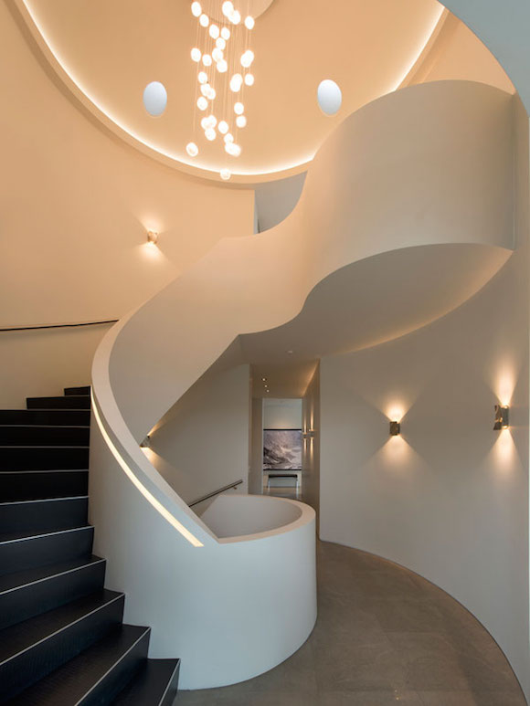 Funky Staircase Design - Ultramodern lake house with luxurious details