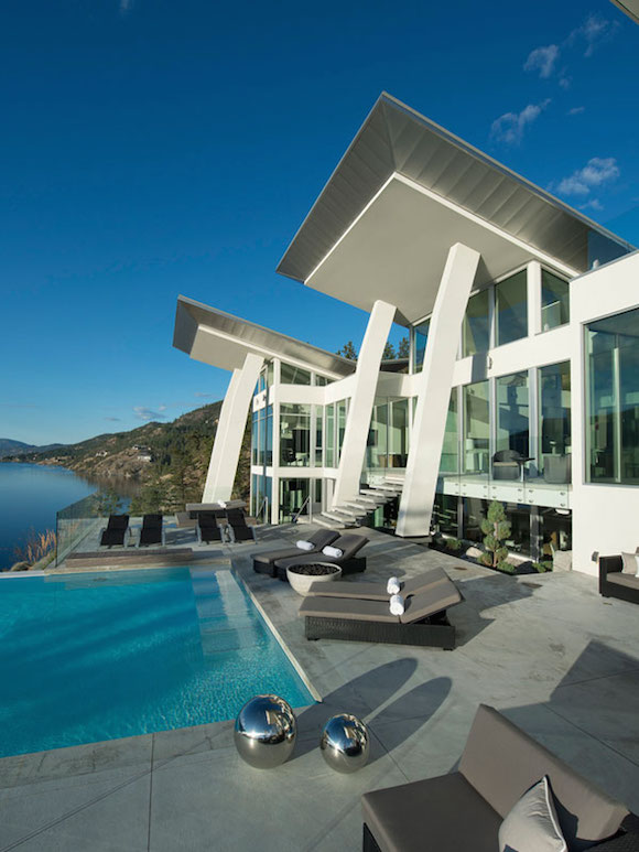 Futuristic Pool Deck - Ultramodern lake house with luxurious details