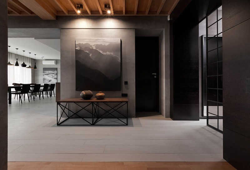 Gray And Wood - A modern summer cottage utilizes tons of gorgeous walnut