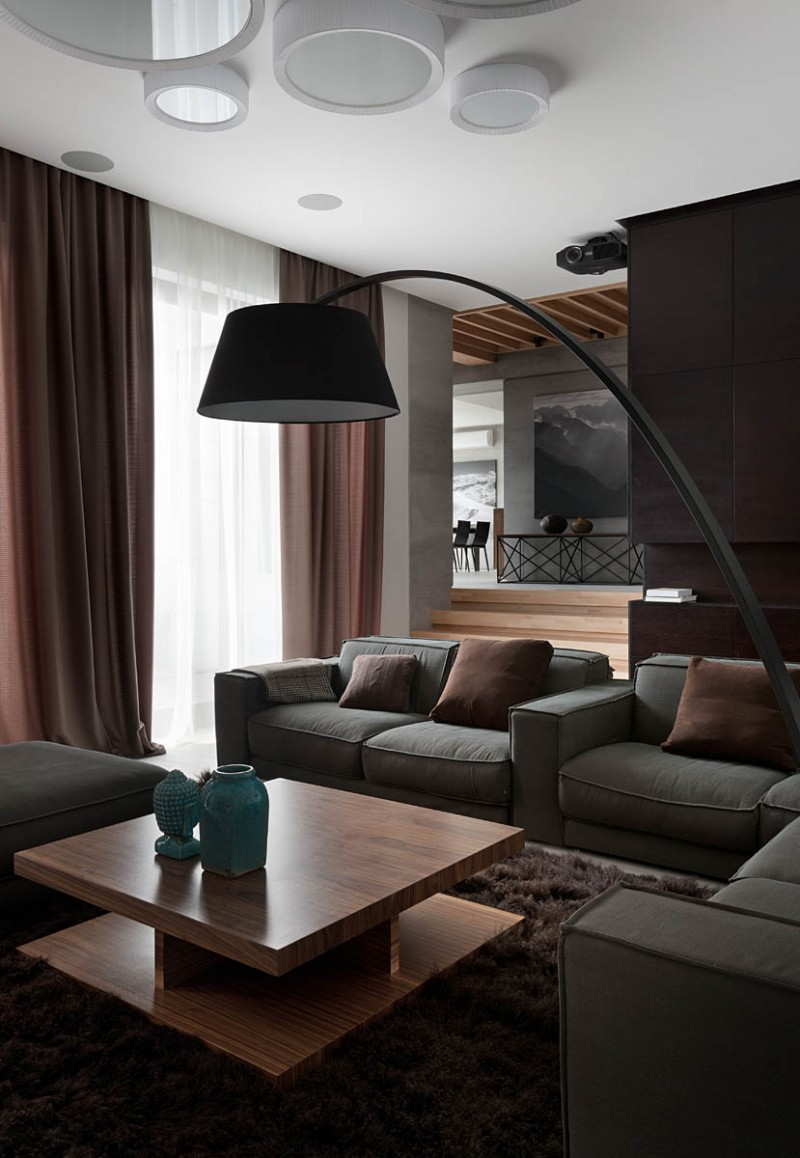 Gray Sofas - A modern summer cottage utilizes tons of gorgeous walnut