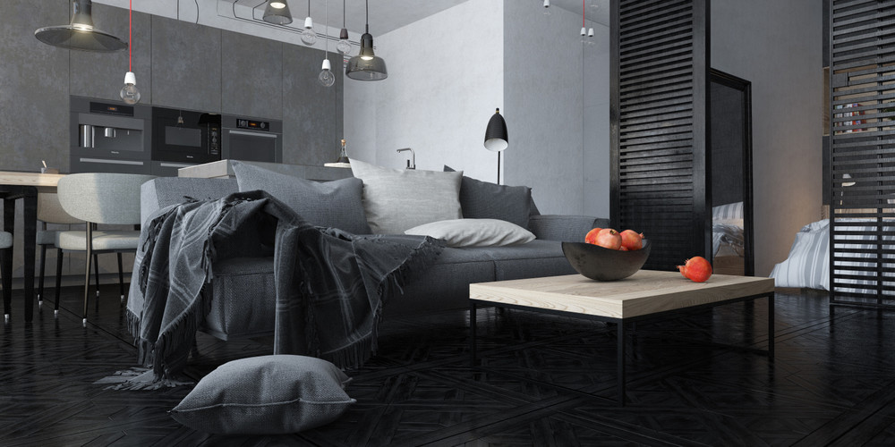 Dark themed interiors using grey effectively for interior for Dark grey interior