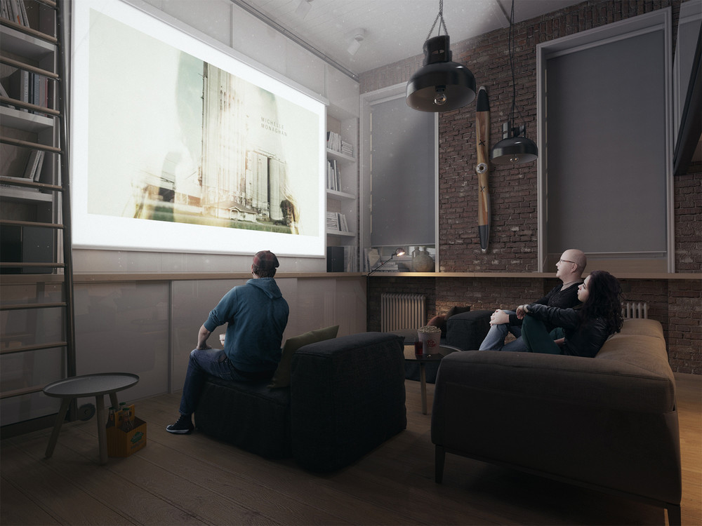 Home Projector Idea - A super small apartment that adapts to its owner s needs