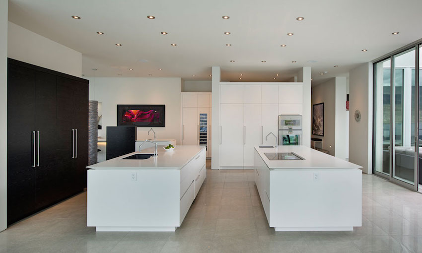 Huge Kitchen Island Design - Ultramodern lake house with luxurious details