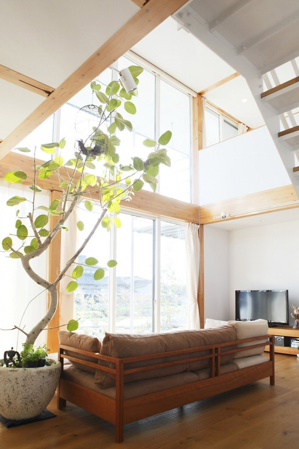 Style simplicity in a japanese countryside prefab home for Japanese style plants