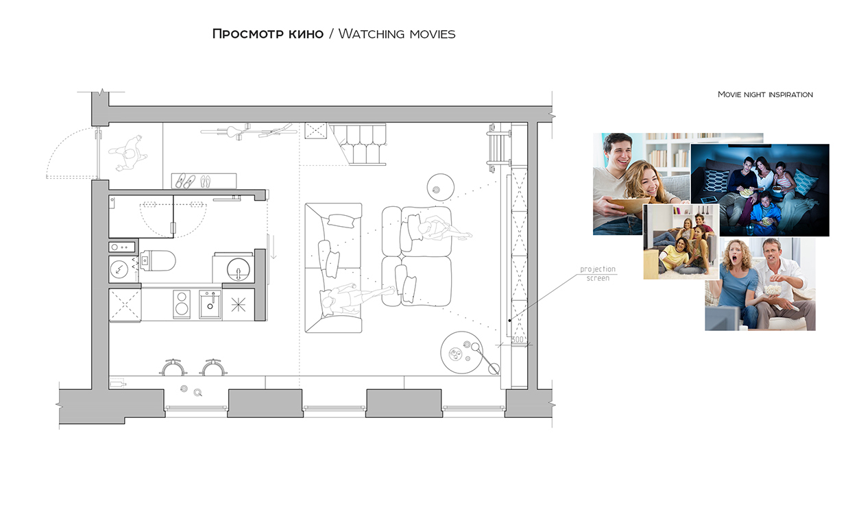 Living Room Layout - A super small apartment that adapts to its owner s needs