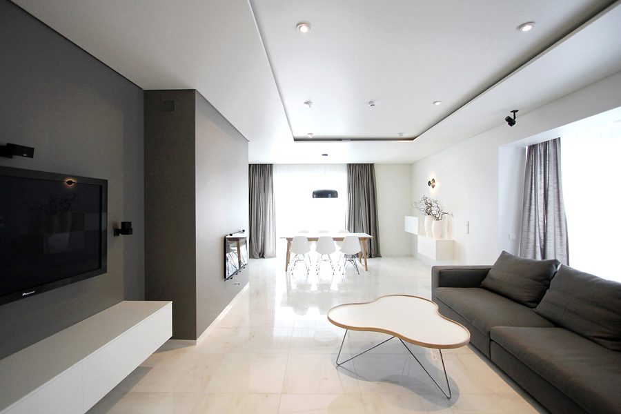 The beauty of simple minimalist interior with maximum style for White minimalist living room
