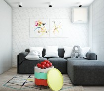 To make the most out of this somewhat small urban space, it is necessary to make sure every piece is carefully chosen, and so much the better if it can have more than one use. In this bright and airy living room, we have a comfortable gray sofa with pieces that can easily shift around to make a comfortable spot for an overnight guest, or just a nap for the new mother. The coffee table is also a convertible in its own right, with the different colorful layers lifting off to reveal storage and serving trays.