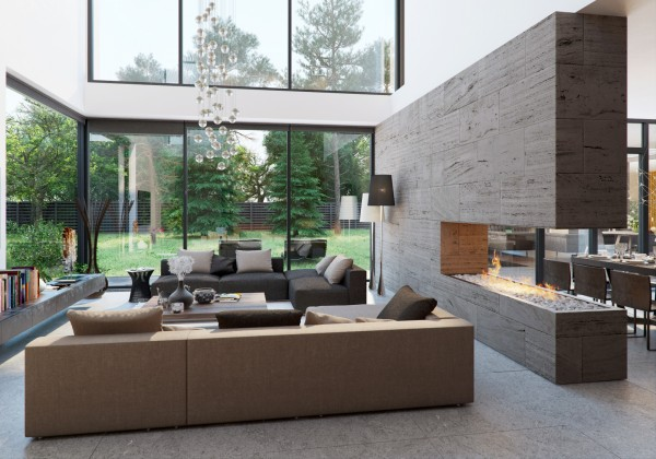 The main living area uses a mostly open floorplan but in place of any wall between the dining and living rooms there is a beautiful stone wall that includes a cutout fireplace. But there is no need for messy wood and matches in this modern incarnation since the gas flames pour out  of a sleek bed of glass.
