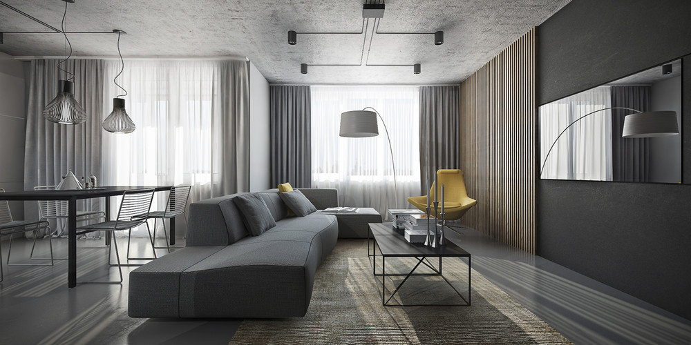 Dark themed interiors using grey effectively for interior Grey interior walls