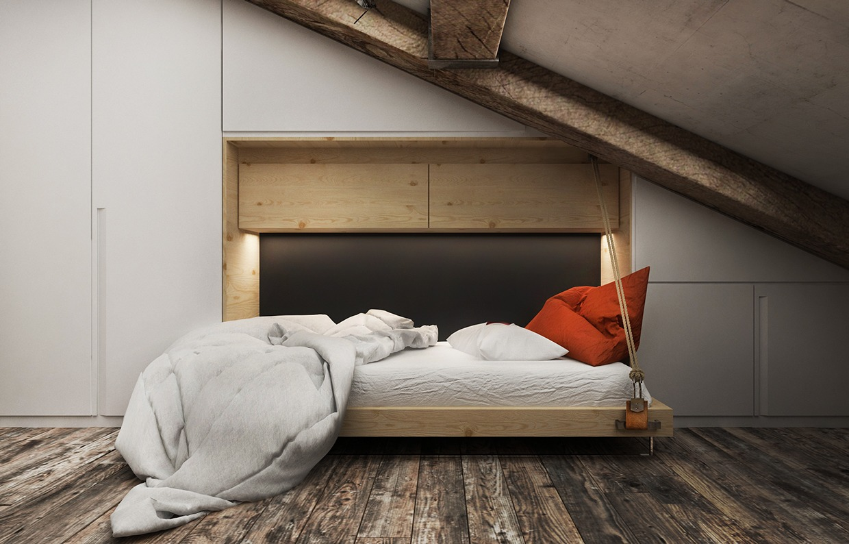 3 creative top floor rooms with wood accents Modern murphy bed