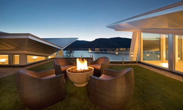 Certainly the space is ideal for entertaining, from the easy gathering areas around fireplaces and wet bars to the lovely outdoor deck. Speaking of which, the infinity pool is an indulgent touch. While it can't compete with the lake in terms of aesthetics, it is likely a bit more comfortable (and warmer) for an afternoon dip.