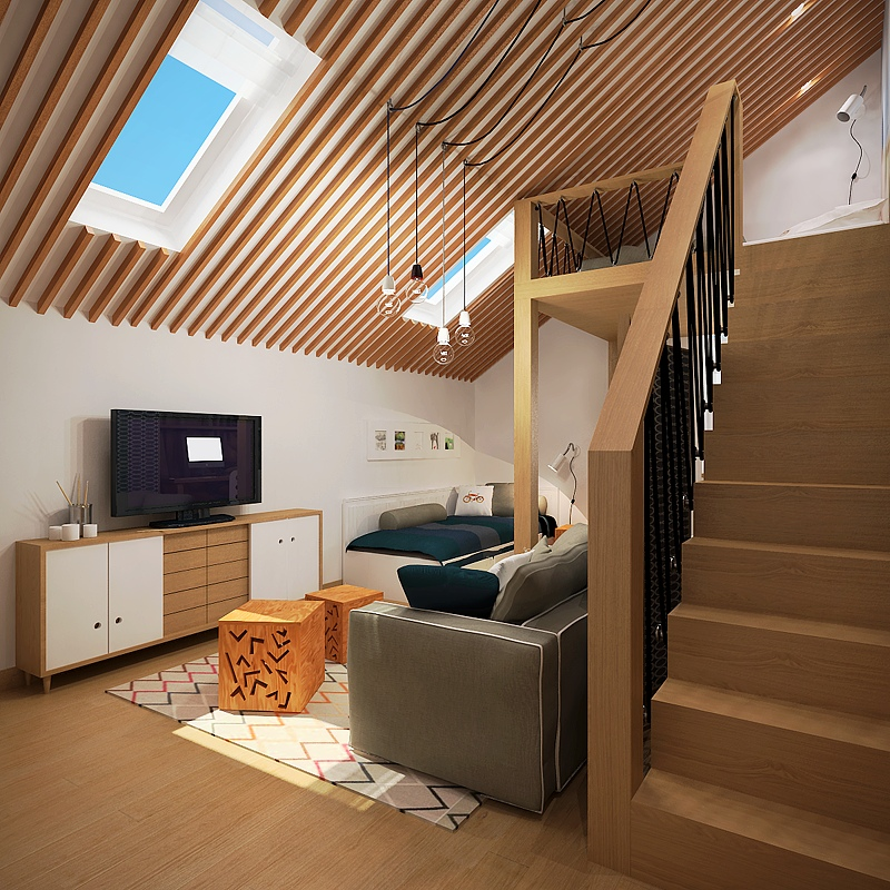 3 creative top floor rooms with wood accents for Interior decoration living room roof