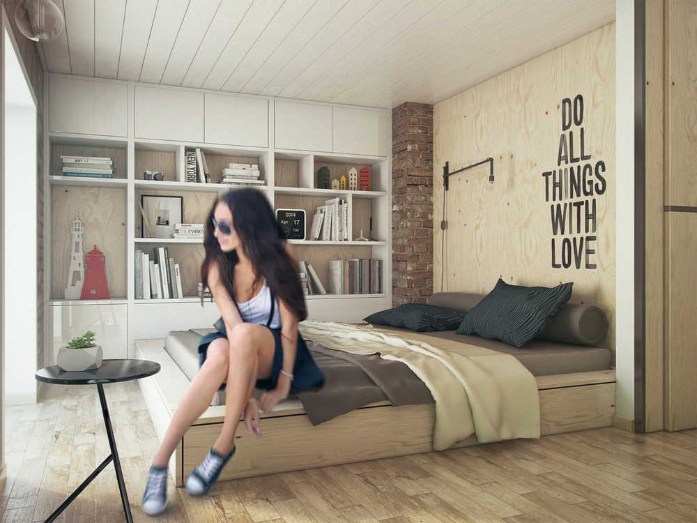 Plywood Bedroom Design - A super small apartment that adapts to its owner s needs
