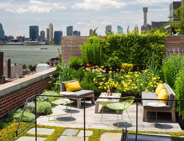 Up on the roof itself, a brilliant spring garden is the ultimate urban oasis where anyone from the New York elite would be thrilled the entertain. Throughout the home, both indoors and out, sustainable choices were made wherever possible including energy efficient appliances and native plants that require less water and also add insulation to the home below.