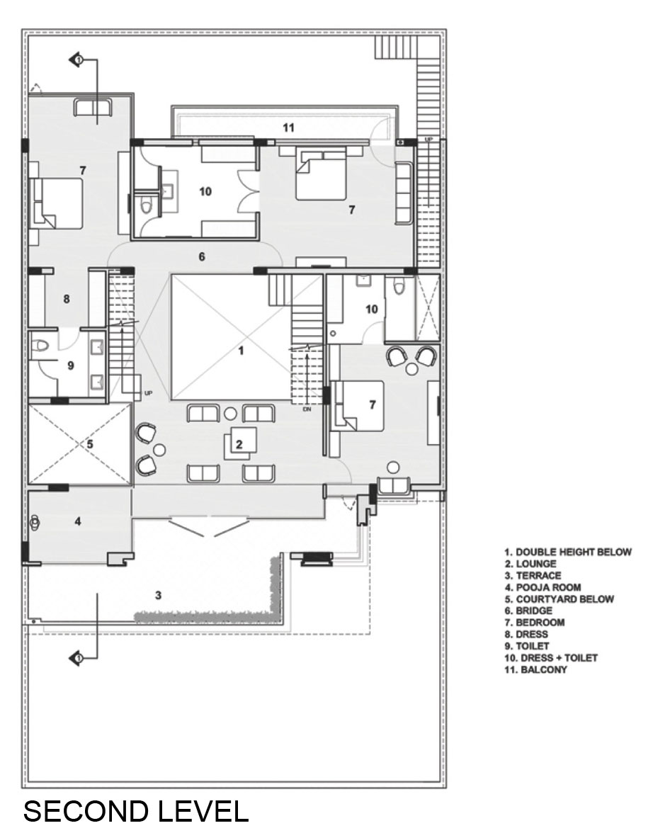 Second Floor Layout - A sleek modern home with indian sensibilities and an interior courtyard