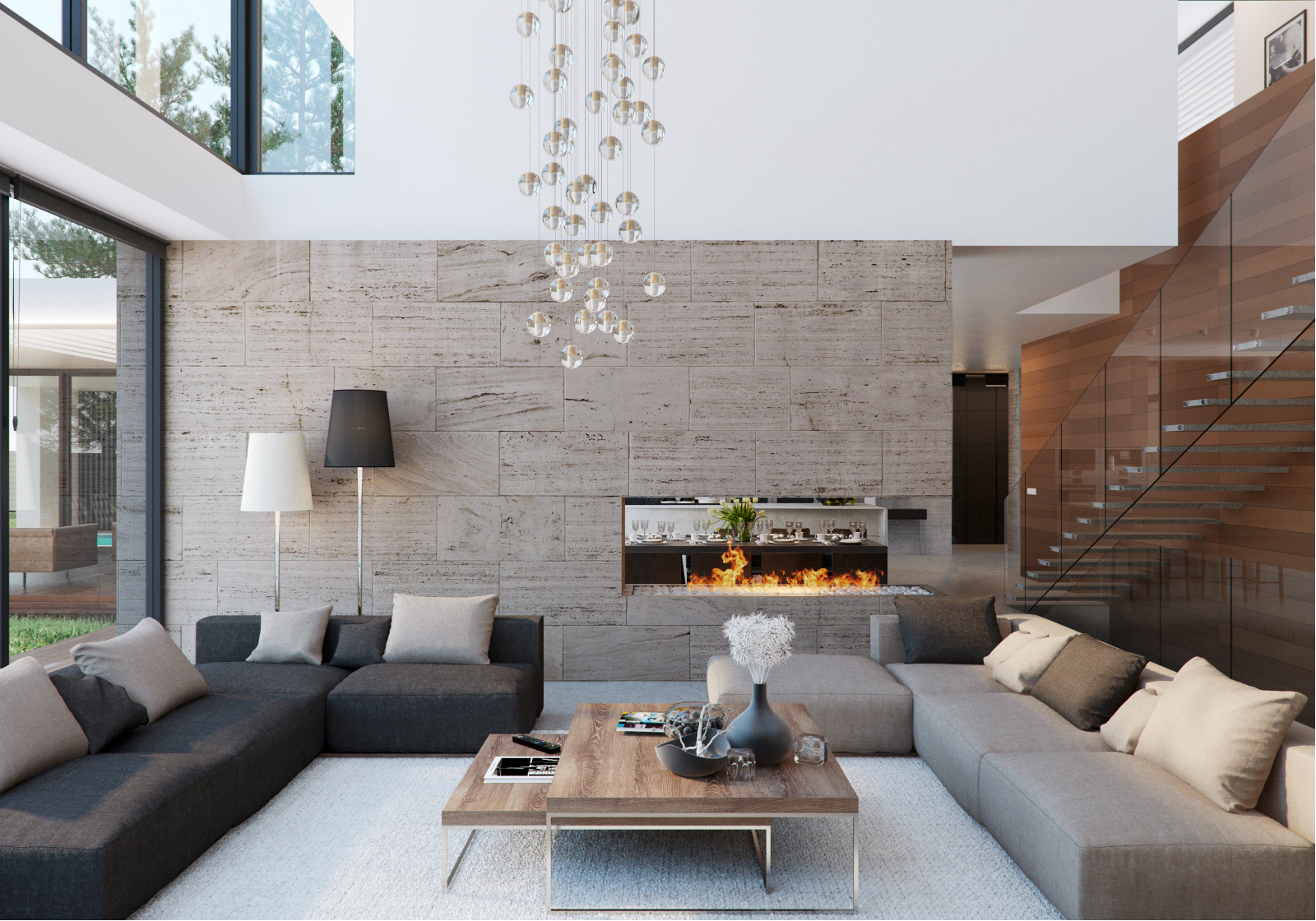 Stone and wood home with creative fixtures for Simple modern living room