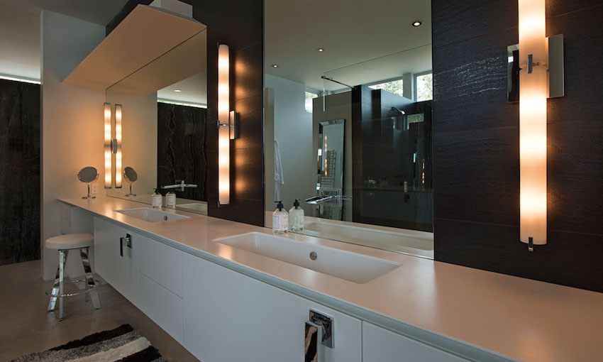Slick Bathroom Countertop - Ultramodern lake house with luxurious details