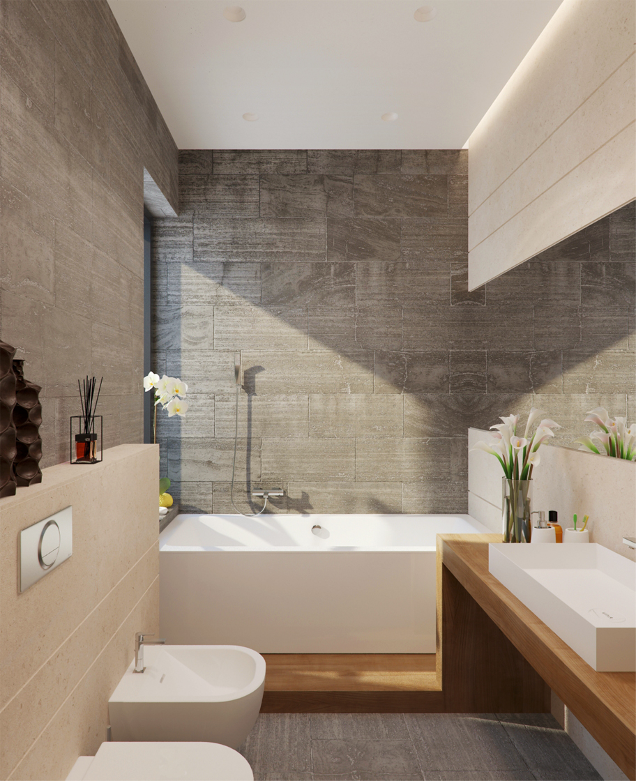 Stone and wood home with creative fixtures for Contemporary bathroom tiles