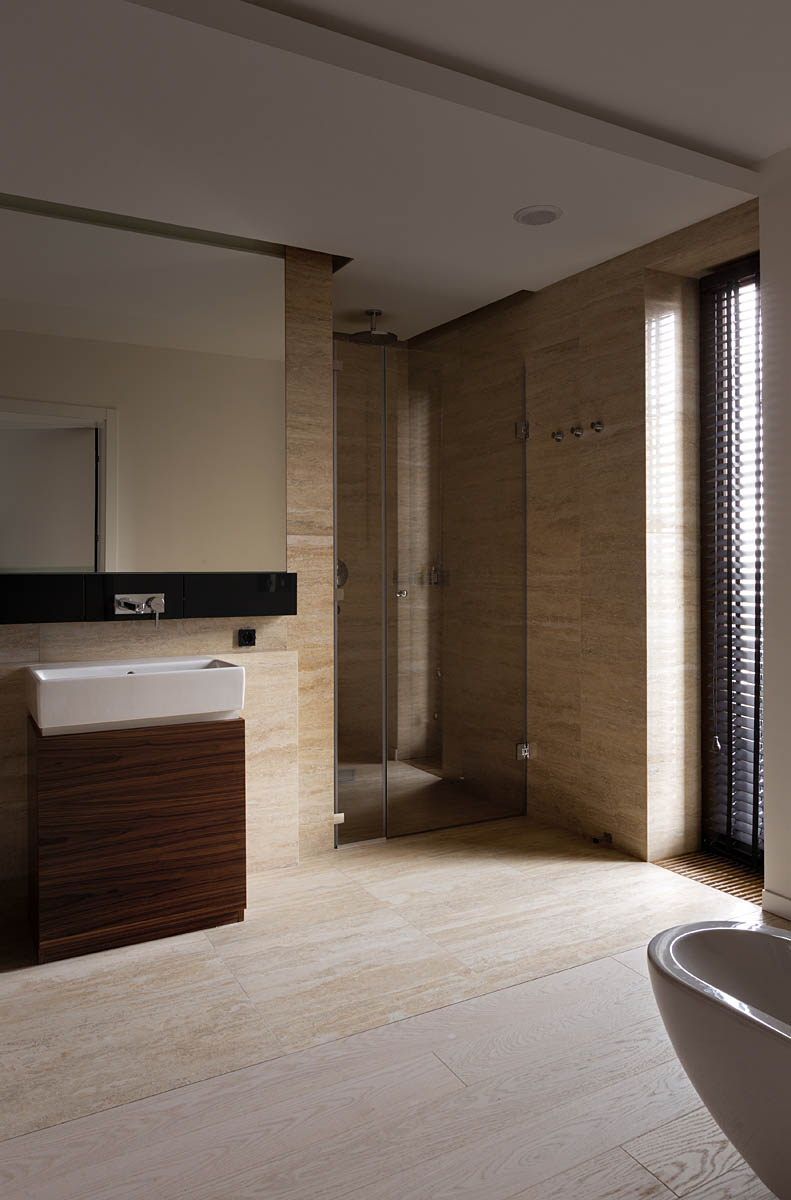 Stone Marble Bathroom - A modern summer cottage utilizes tons of gorgeous walnut