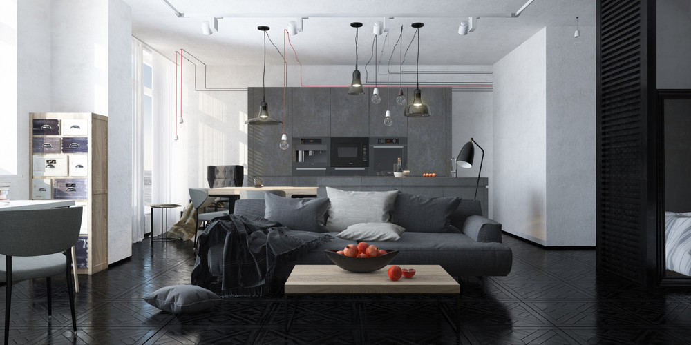 Dark themed interiors using grey effectively for interior for Interior designs living room grey